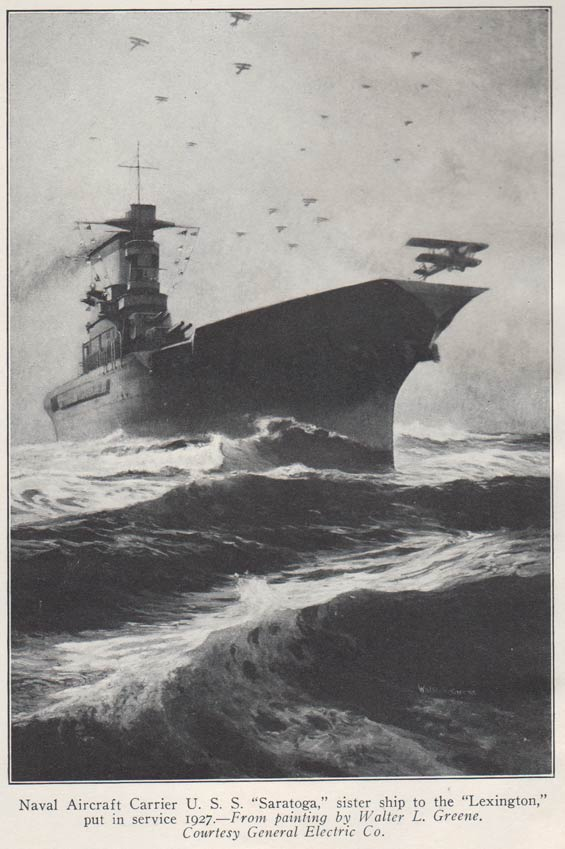 U.S.S. Saratoga Frontispiece, Aircraft Yearbook, 1928 (Source: Webmaster)