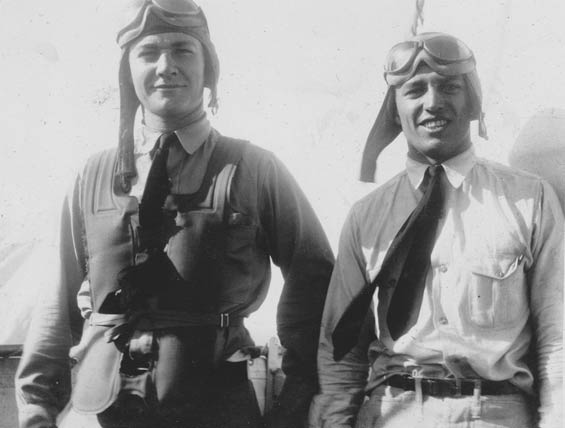 W. H. McMullen (L) and Unidentified Officer, Carrier Deck, Ca. 1928-30 (Source: Barnes)