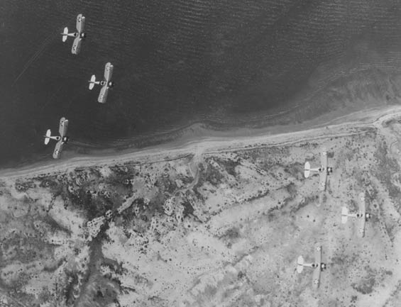 From Overhead, Six Corsairs in Formation, Ca. 1928-30 (Source: Barnes)