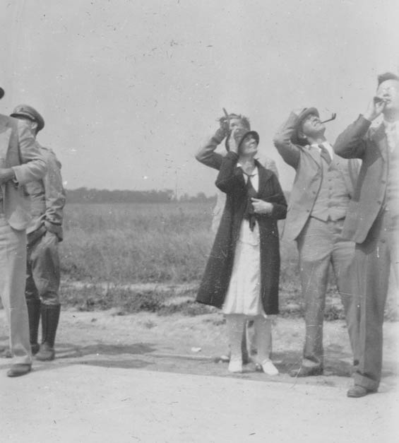 Unidentified People Looking Skyward, Date & Location Unknown, Ca. 1928-30 (Source: Barnes)