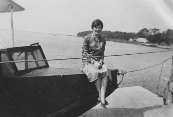 Woman Sitting on Bow of Unidentified Craft, Ca. 1928-30 (Source: Barnes)
