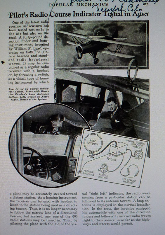 Radio Course Indicator, Popular Mechanics, August, 1935 (Source: Web)