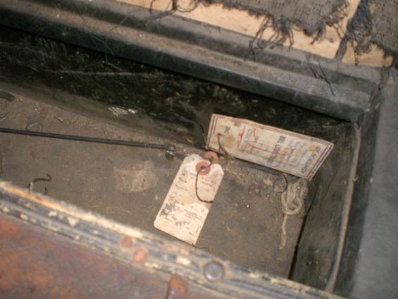 Location of Ticket Find, Glovebox, 1927 Hupmobile (Source: Sorg)