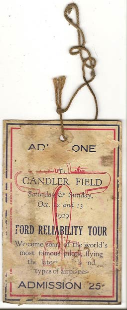 Ticket, 1929 Ford Reliability Tour, Candler Field, Atlanta, GA  (Source: Sorg)