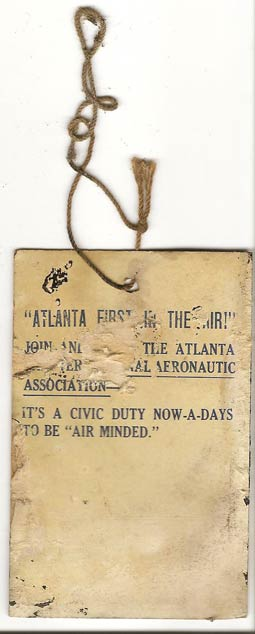 Ticket, 1929 Ford Reliability Tour, Candler Field, Atlanta, GA, Back  (Source: Sorg)