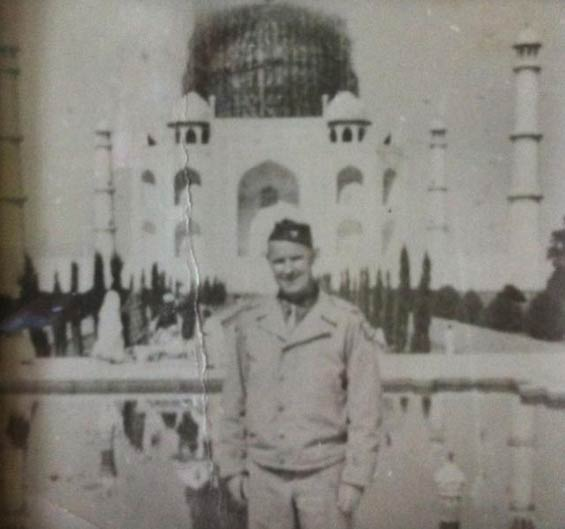 Colonel Ray Clark Posing in Front of the Taj Mahal, Agra, India During WWII (Source: Clark Family Album)
