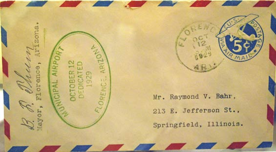 U.S. Postal Cachet, October 12, 1929 (Source: Ringer)