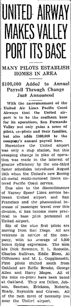 Van Nuys News, September 11, 1933 (Source: Gerow)
