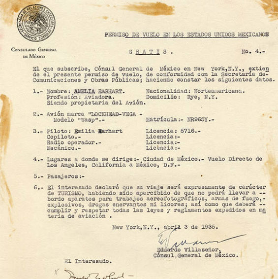 Earhart Flight, Mexico Permission, April 3, 1935 (Source: PUEA)
