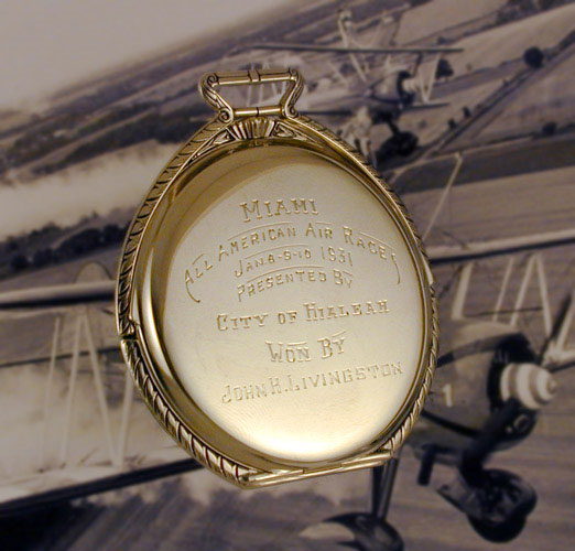 Pocket Watch Prize, Engraving, Miami All American Air Races, January, 1931 (Source: Frankel)