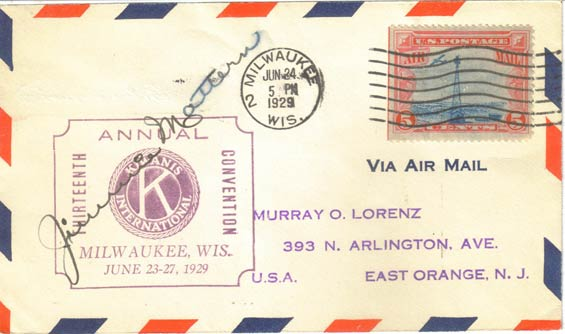 U.S. Postal Airmail Cachet, June 24, 1929 (Source: Staines)