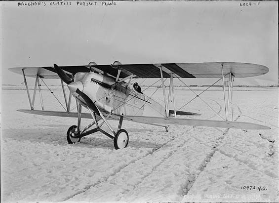 Russell Maughan in Curtiss Pursuit Aircraft, Date & Location Unknown (Source: LOC via Woodling)