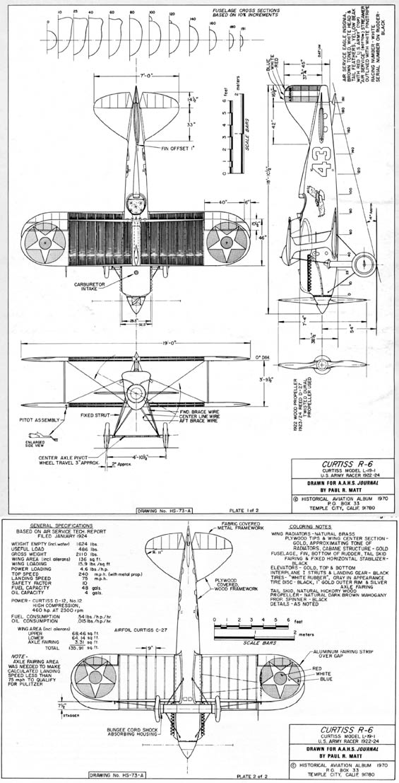 Curtiss R-6 Racer, Schematic Diagram (Source AAHS Journal via Woodling)