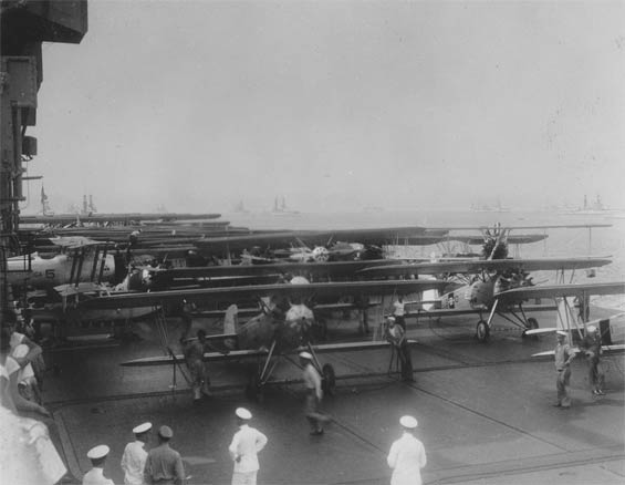 Aircraft Massed on Carrier Deck, Ca. 1928-30 (Source: Barnes)