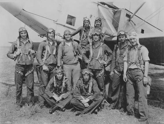 McMullen (2nd From Left) and Other Unidentified Airmen, Ca. 1928-30 (Source: Barnes)
