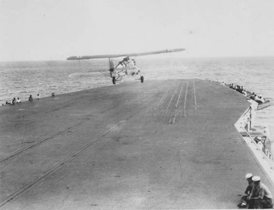 Aircraft Departing the U.S.S. Saratoga (?) (Source: Barnes)