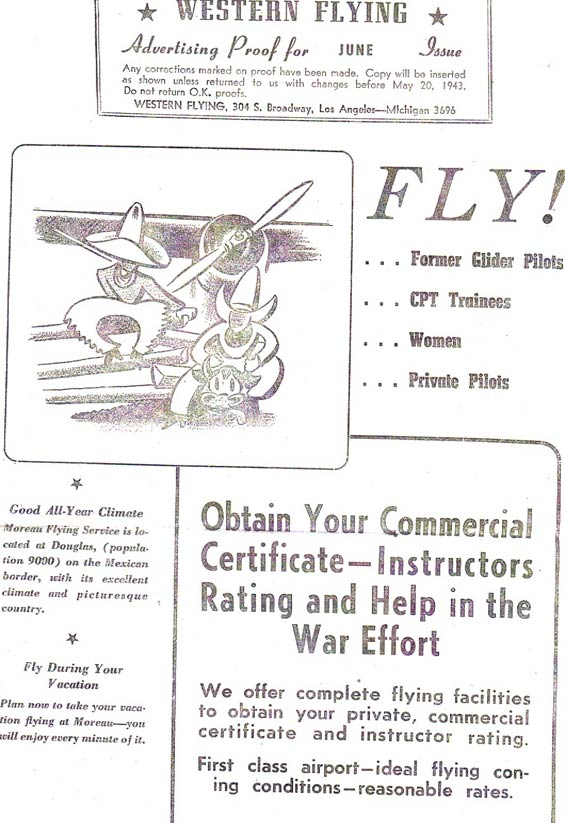 Advertisment Proof, Western Flying Magazine, 1943 (Source: Moreau)