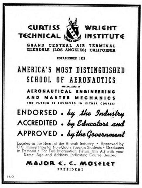 Curtiss Wright Technical Institute, Glendale, CA, 1939 (Source: Site Visitor)