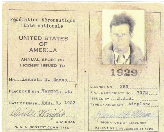Kenny Neese, FAI License, 1929 (Source: Guyer)
