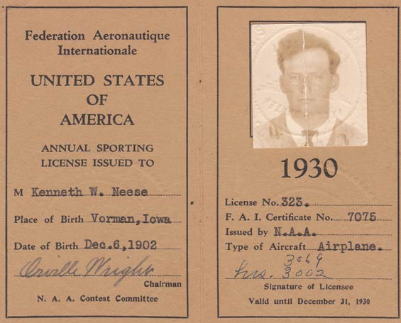 Kenny Neese, FAI License, 1930 (Source: Guyer)