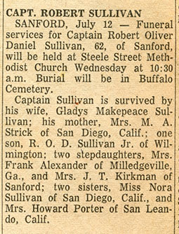 Undated News Announcement, R.O.D. Sullivan Obituary (Source: Site Visitor)