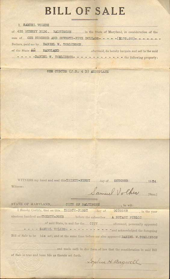 Tomlinson's Bill of Sale for Purchase of Curtiss Jenny 2188, October 31, 1924 (Source: Walker)