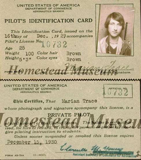 Marian Trace, Private Pilot Certificate, December 15, 1929 (Source Homestead Museum via Woodling)