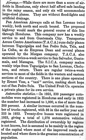 Voss Air Taxi Service, Honduras, Congressional Report, 1934 (Source: Woodling)