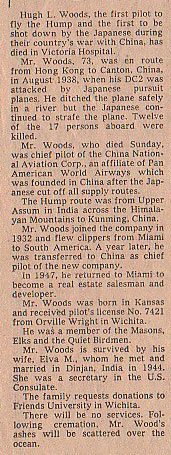 H.L. Woods, Obituary, Miami Herald, October 16, 1979 (Source: Web)