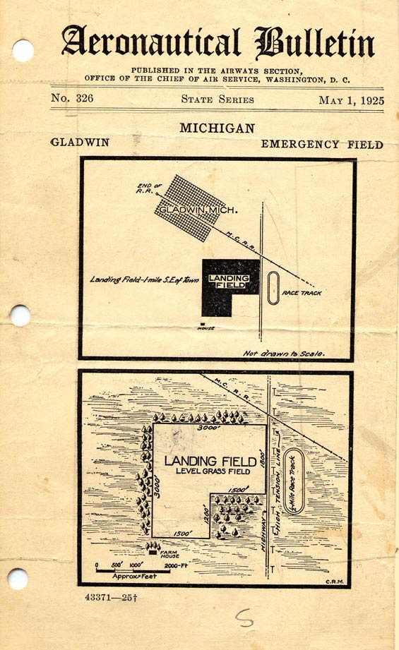 Aeronautical Bulletin, May 1, 1925, Gladwin Emergency Field (Source: Zettel Family Album)