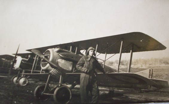Raymond C. Zettel Standing Next to SPAD, Ca. 1918 (Source: Zettel Family Album)