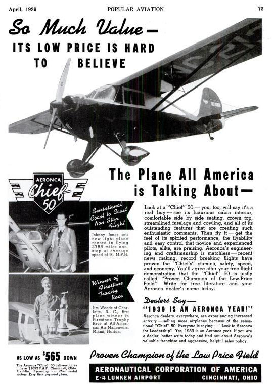 Aeronca Advertisement, Popular Aviation, April, 1939 (Source: PA)
